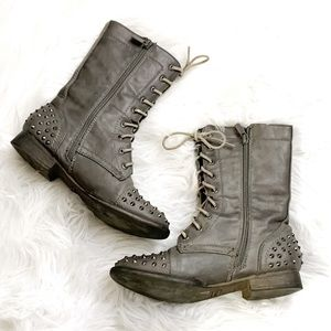 VINTAGE Cool Combat Boots w/Spikes on Toe & Heel